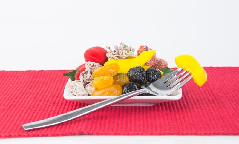 Utrzymane owoc & Wysuszone owoc Karmowa przekąska na tle obrazy royalty free