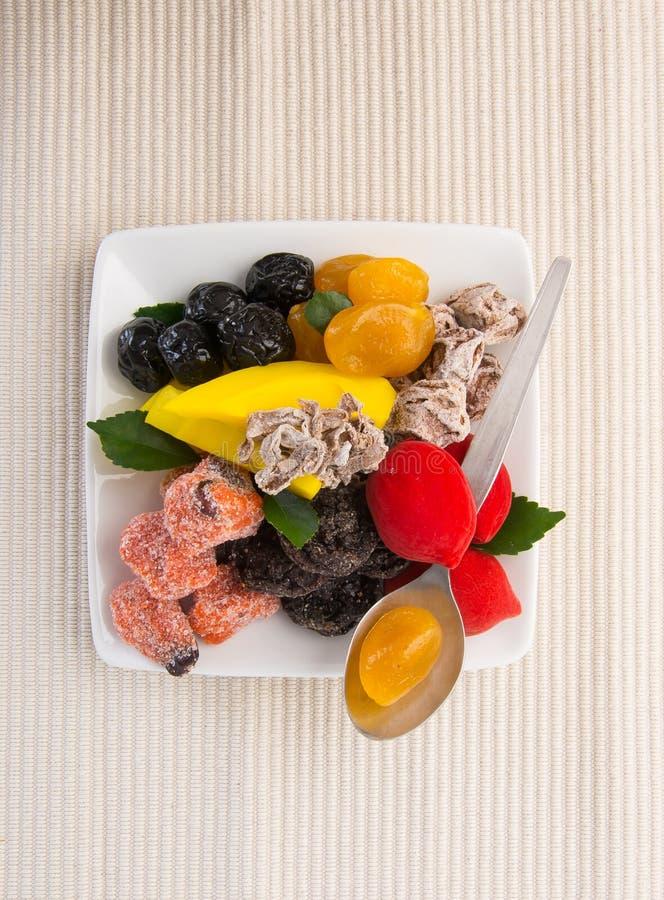 Utrzymane owoc & Wysuszone owoc Karmowa przekąska na tle fotografia stock