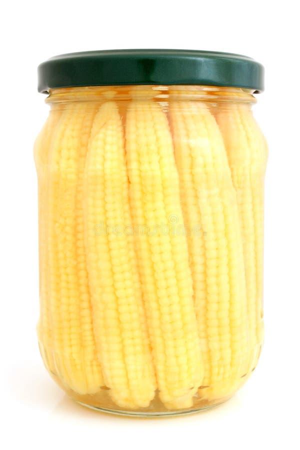 Utrzymani mini kukurydzani ucho w szklanym słoju zdjęcia stock