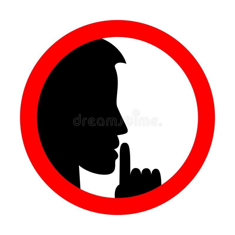 Utrzymanie ciszy znak Jest Spokojny royalty ilustracja