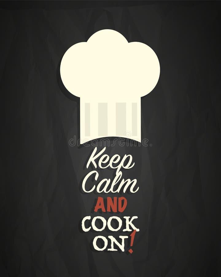 Utrzymanie kucharz na plakacie i spokój royalty ilustracja