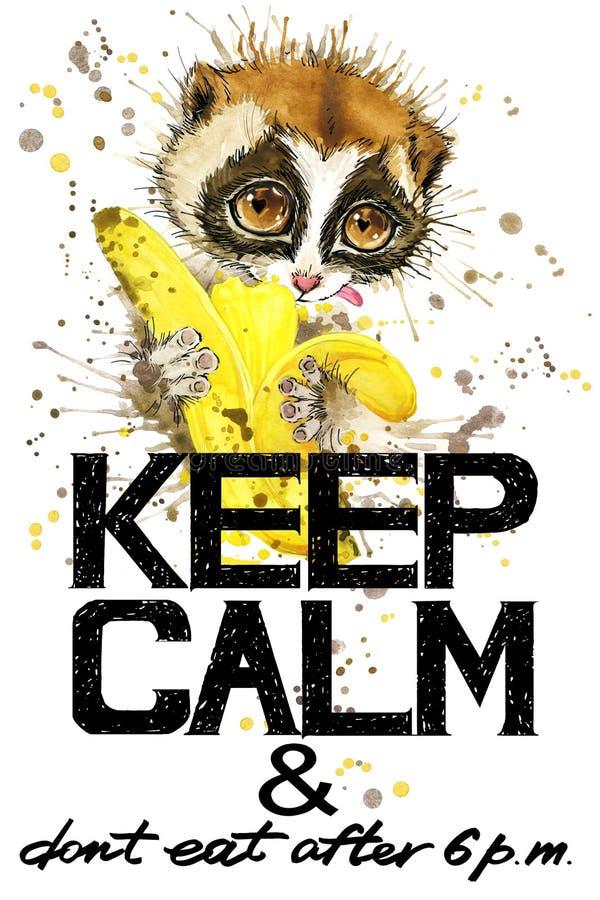 Utrzymanie spokój Lemur akwareli ilustracja ilustracja wektor