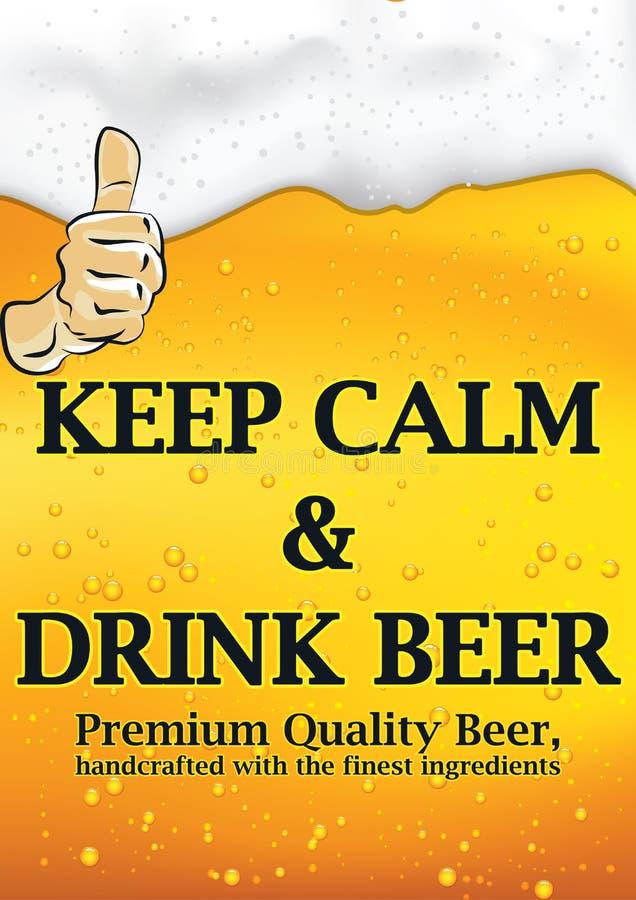 Utrzymanie spokojny i napoju piwo - plakat ilustracja wektor
