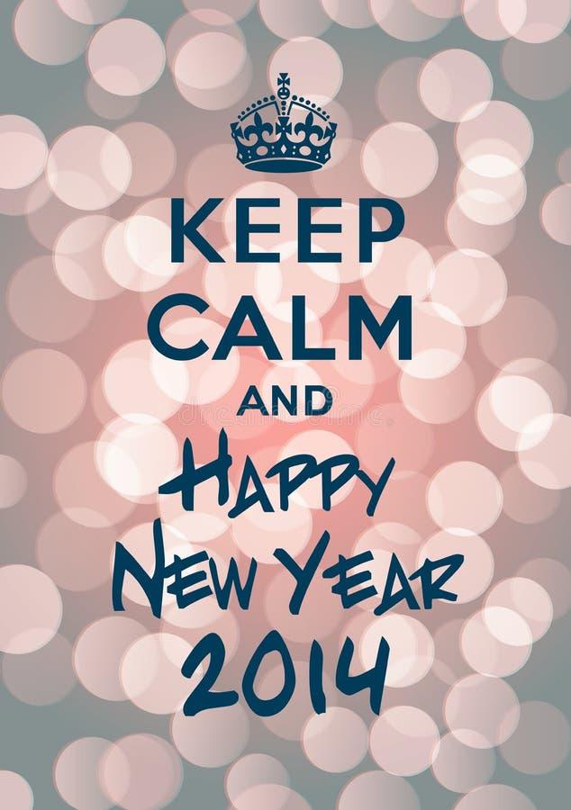 Utrzymanie spokojny i Szczęśliwy nowy rok 2014 ilustracja wektor