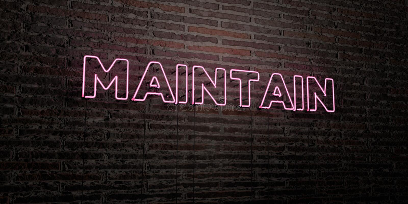 UTRZYMUJE - Realistyczny Neonowy znak na ściana z cegieł tle - 3D odpłacającego się królewskość bezpłatnego akcyjnego wizerunek ilustracji
