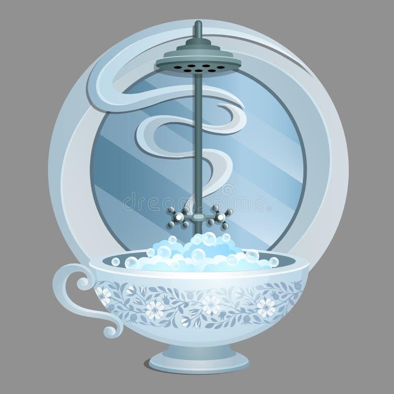 Utsökt designbad i form av en kopp som fylls med vatten med skum som isoleras på en grå bakgrund Idé av skapat stock illustrationer
