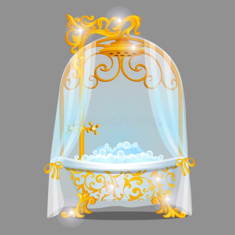 Uts?kt designbad med guld- en smula ?verlastad prydnader som fylls med vatten med skum som isoleras p? en gr? bakgrund Id? av stock illustrationer
