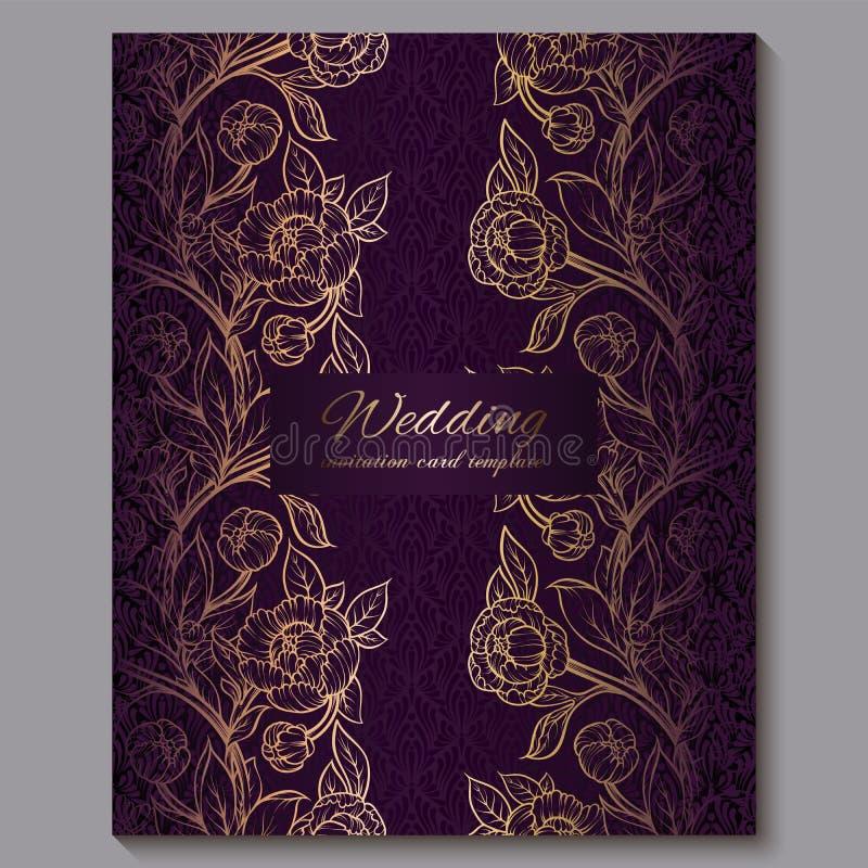 Utsökt kunglig purpurfärgad lyxig gifta sig inbjudan, guld- blom- bakgrund med ramen och ställe för text, spets- lövverk som göra royaltyfri illustrationer