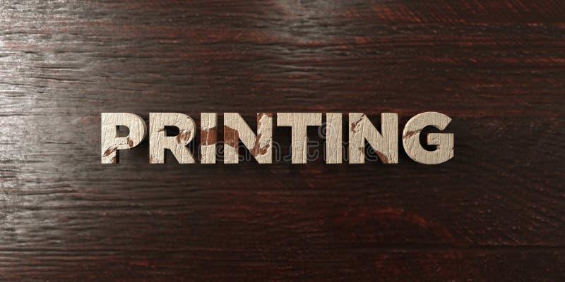 Utskrift - grungy trärubrik på lönn - av 3D framförde fri materielbild för royalty stock illustrationer