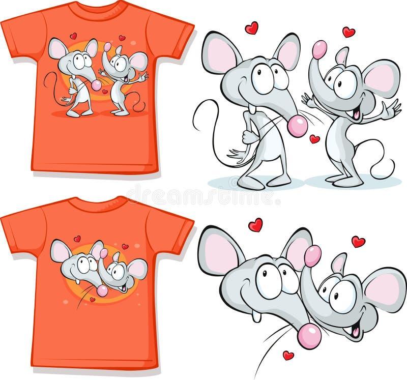 Utskrivaven ungeskjorta med gulligt förälskat för mouses vektor illustrationer