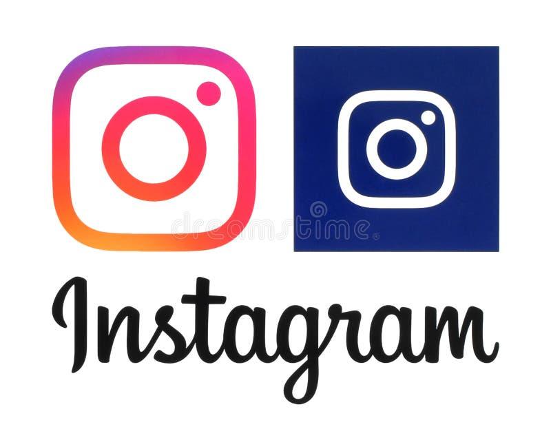 Utskrivavna Instagram nya logoer royaltyfri fotografi