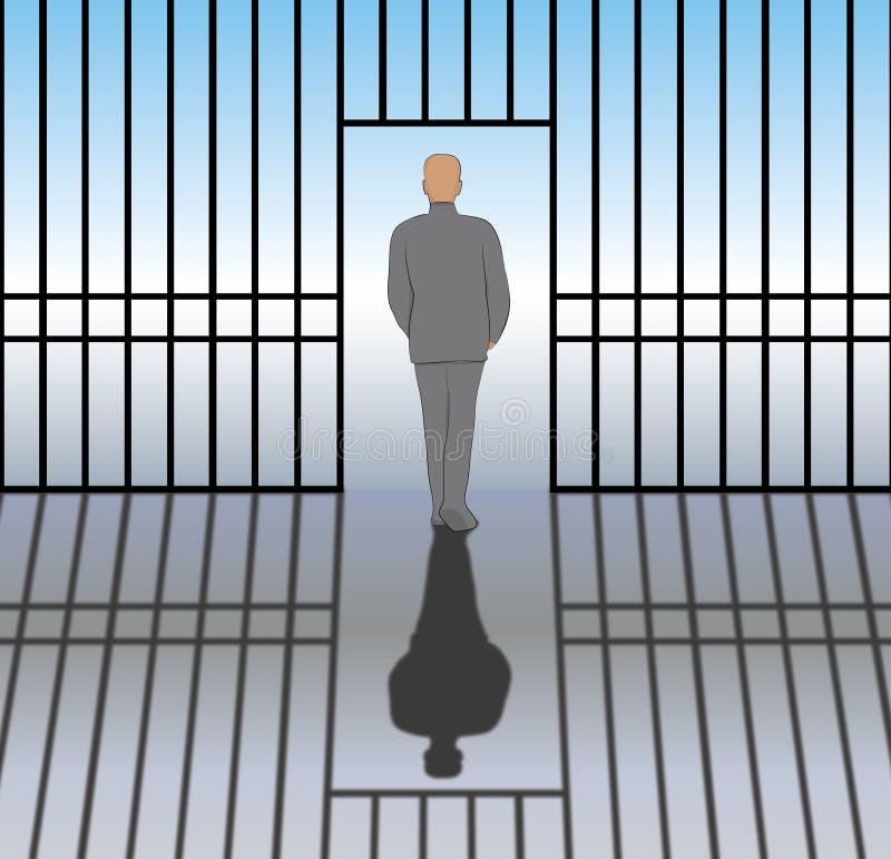 Utsläppt från fängelse royaltyfri illustrationer