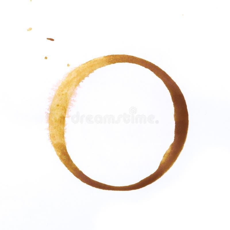 Utslagsplats- eller kaffekoppcirklar som isoleras på en vit bakgrund arkivfoto