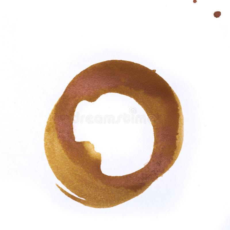 Utslagsplats- eller kaffekoppcirklar som isoleras på en vit bakgrund arkivbild