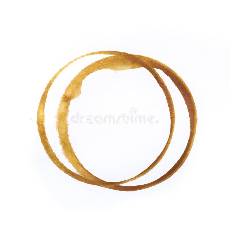 Utslagsplats- eller kaffekoppcirklar som isoleras på en vit bakgrund fotografering för bildbyråer