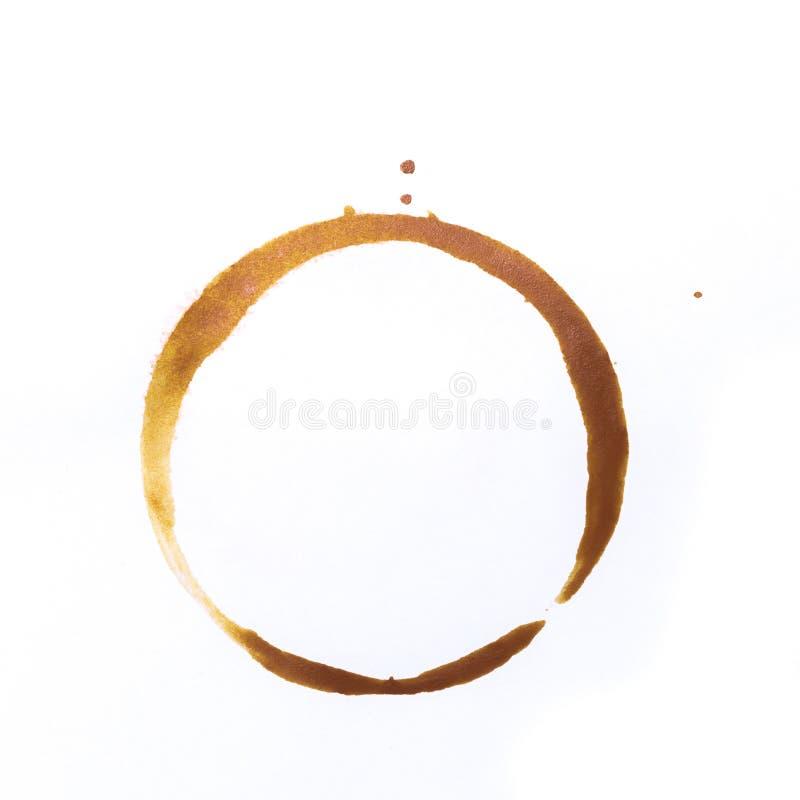 Utslagsplats- eller kaffekoppcirklar som isoleras på en vit bakgrund royaltyfria foton
