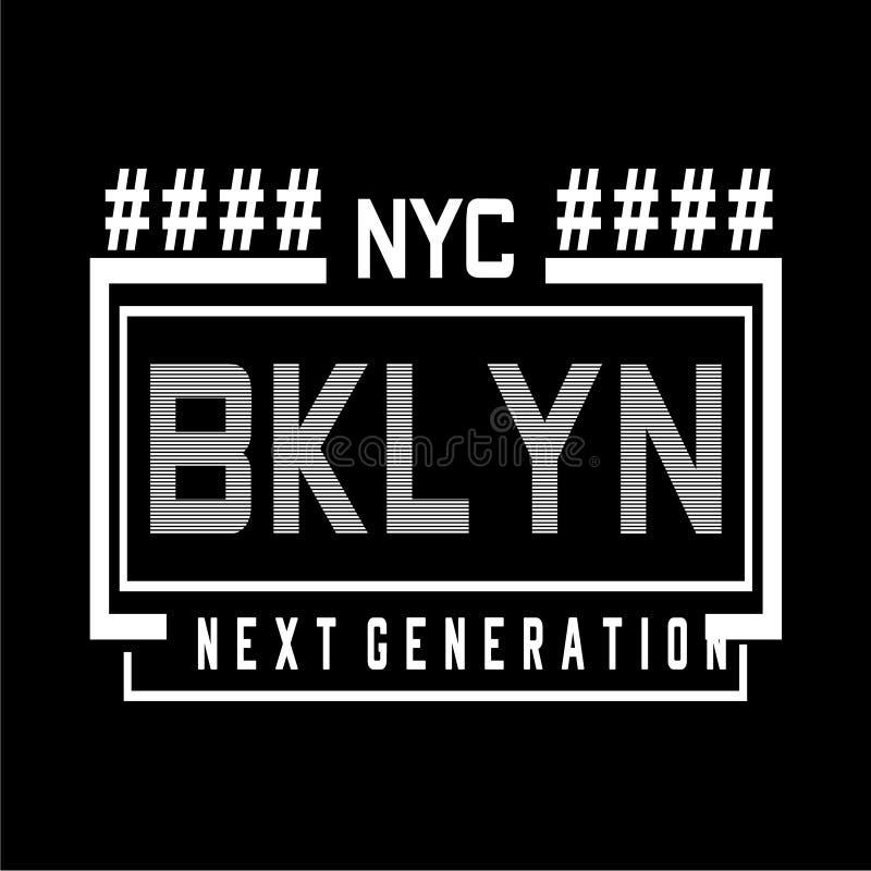 Utslagsplats för New York Brooklyn typografidesign för t-skjorta vektor illustrationer