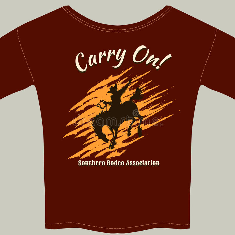 Utslagsplatsskjorta med det cowboyRiding Horse Rodeo diagrammet vektor illustrationer