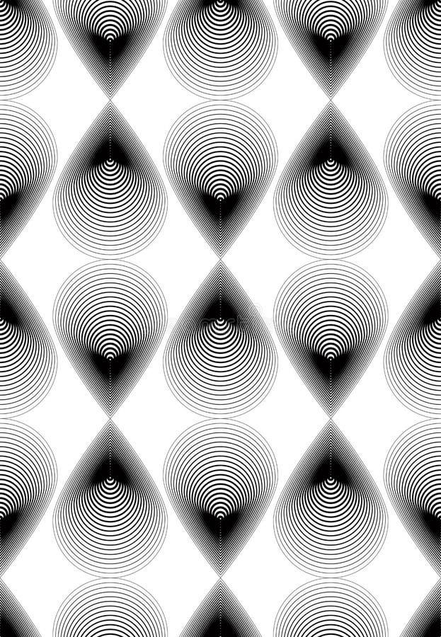 Utsmyckad bakgrund för vektormonokromabstrakt begrepp med svarta linjer S royaltyfri illustrationer