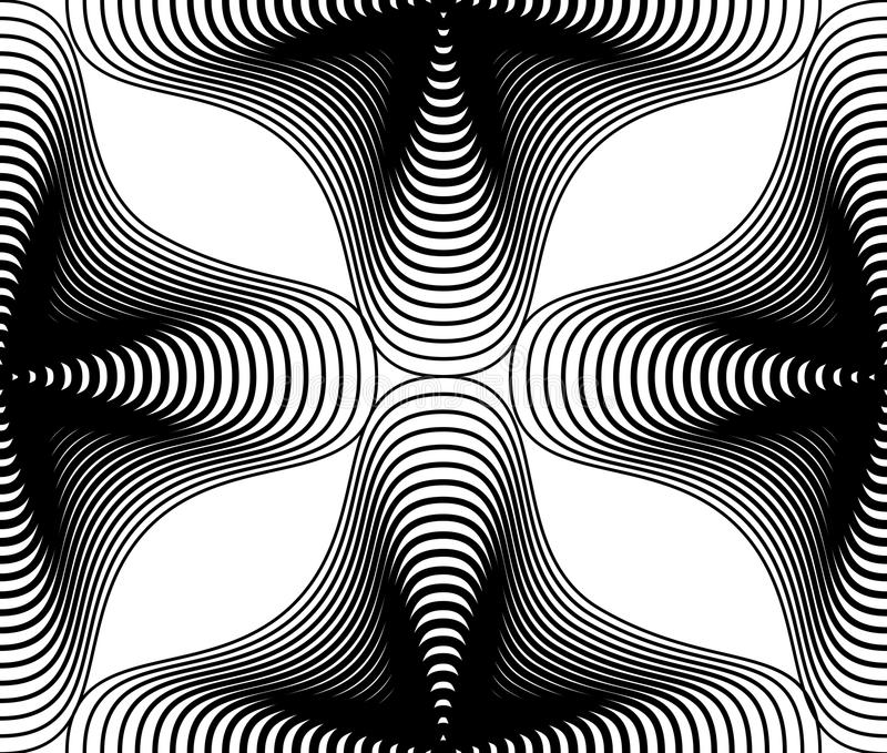 Utsmyckad bakgrund för vektormonokromabstrakt begrepp med svarta linjer S vektor illustrationer