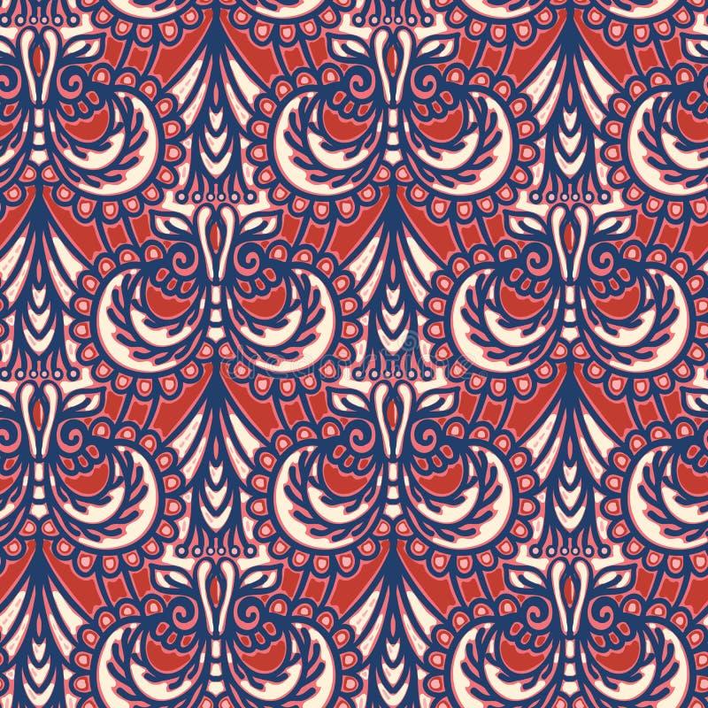 Utsmyckad blom- paisley damast sömlös modell Över hela bakgrund för trycksymmetrivektor Dekorativ Boho person som tillhör en etni royaltyfri illustrationer