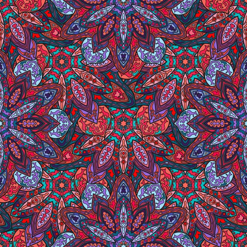 Utsmyckad blom- sömlös textur, ändlös modell med tappningmandalabeståndsdelar stock illustrationer