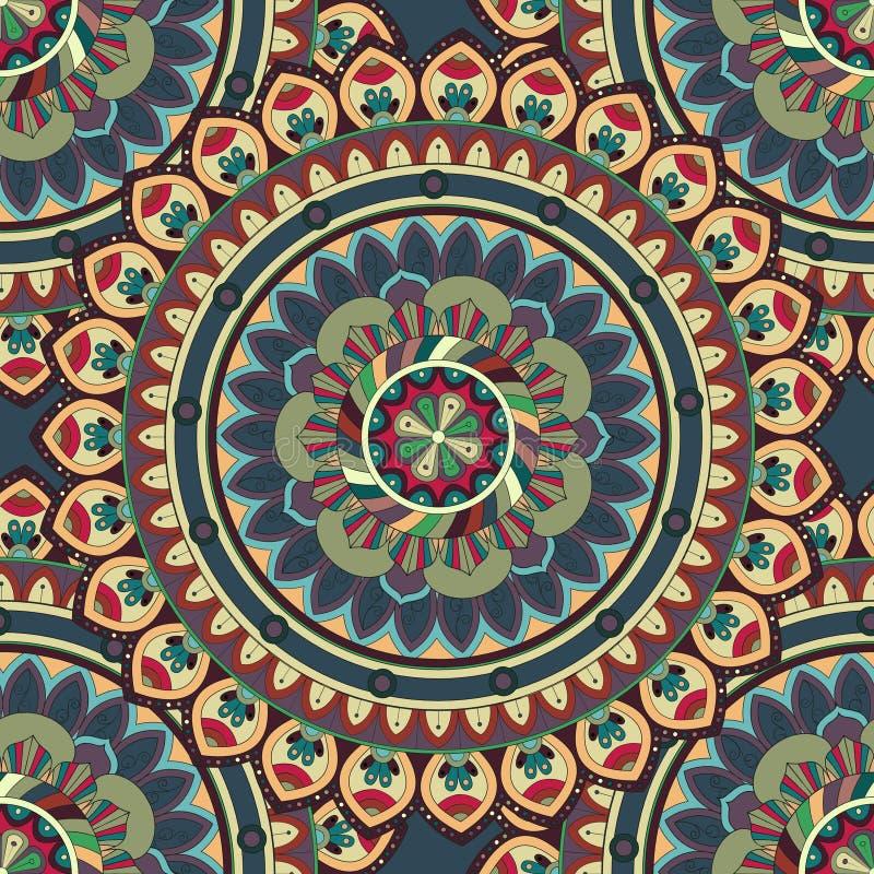 Utsmyckad blom- sömlös textur, ändlös modell med tappningmandalabeståndsdelar royaltyfri illustrationer