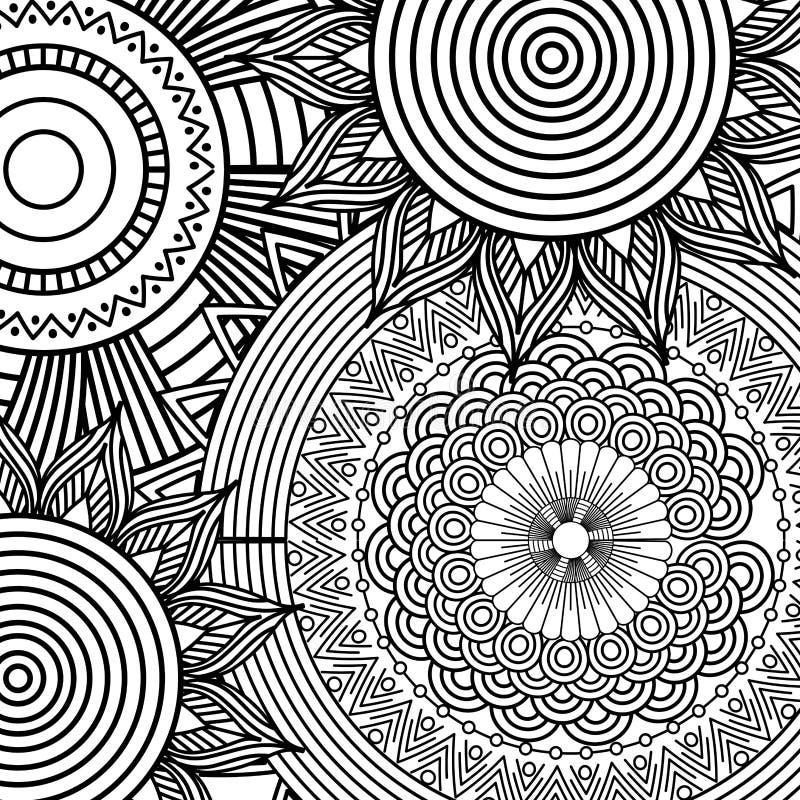 Utsmyckad blom- sömlös texturmodell med modellen för tappningmandalabeståndsdel royaltyfri illustrationer