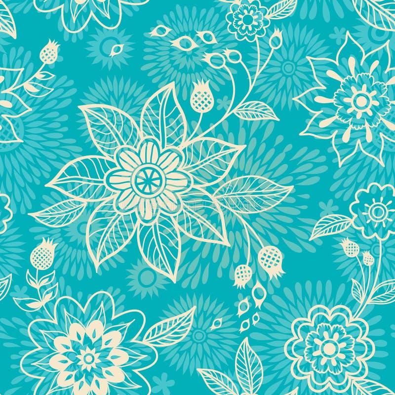 Utsmyckad blom- seamless textur vektor illustrationer