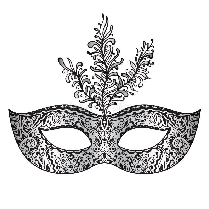 Utsmyckad blom- Venetian karnevalmaskering för vektor med fjädrar stock illustrationer