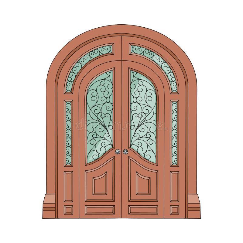 Utsmyckad dubbel dörr med mönstrad målat glass royaltyfri illustrationer