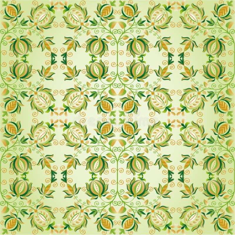utsmyckad green för designblommaguld royaltyfri illustrationer