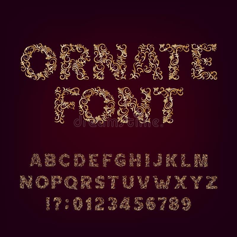 Utsmyckad guld- stilsort Dekorativ alfabetstilsort Metalliska effektbokstäver och nummer på en mörk bakgrund stock illustrationer