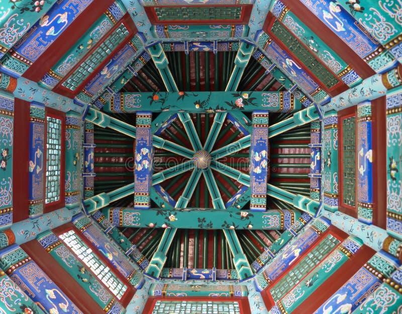 Utsmyckad kines målade taket i tempel i Asien royaltyfria foton