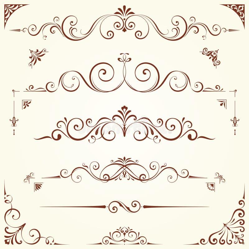 Utsmyckad motivuppsättning royaltyfri illustrationer