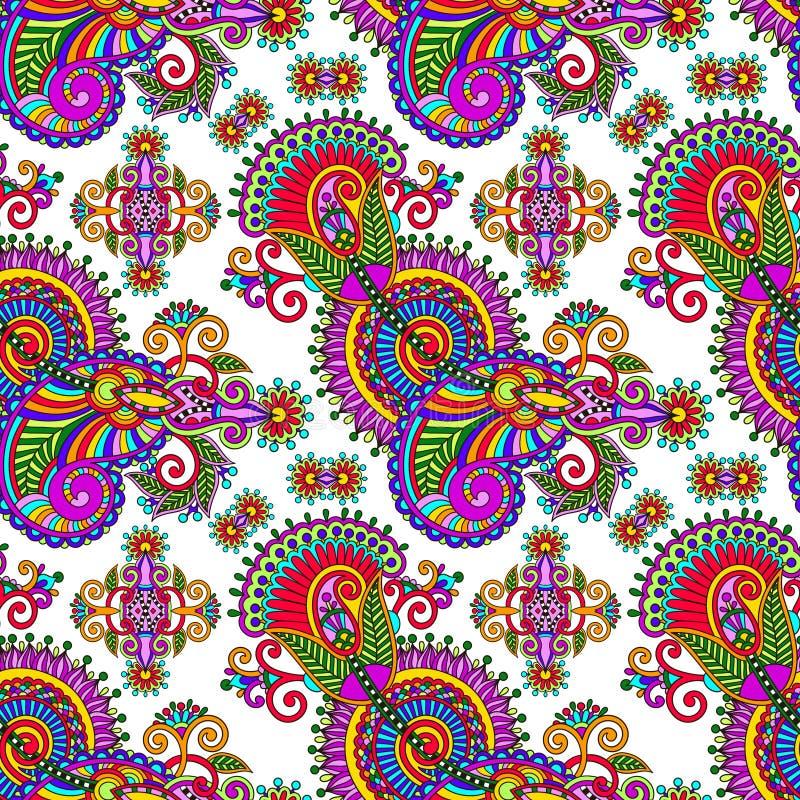 Utsmyckad sömlös bakgrund för blommapaisley design stock illustrationer