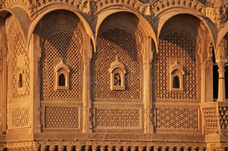 utsmyckad slott för indisk jaisalmer arkivbild