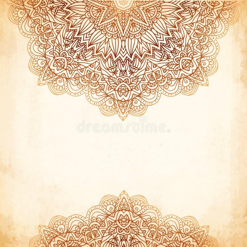 Utsmyckad tappningvektorbakgrund i mehndistil royaltyfri illustrationer