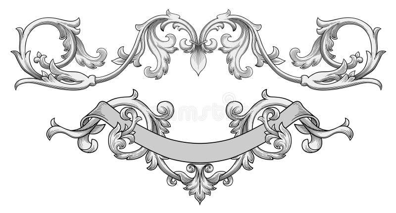 utsmyckad vektor för baner vektor illustrationer