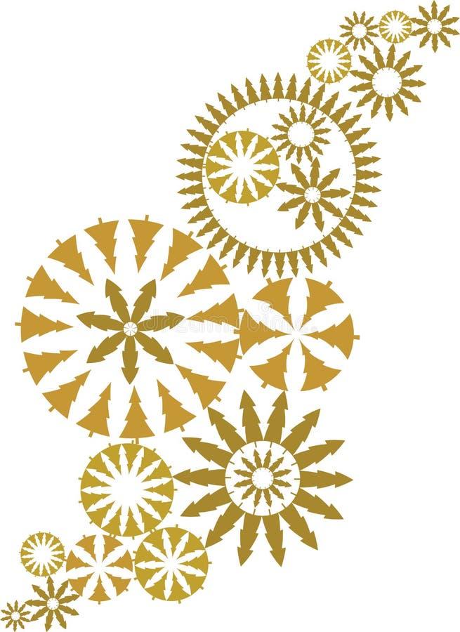utsmyckad vektor för juldesignguld vektor illustrationer
