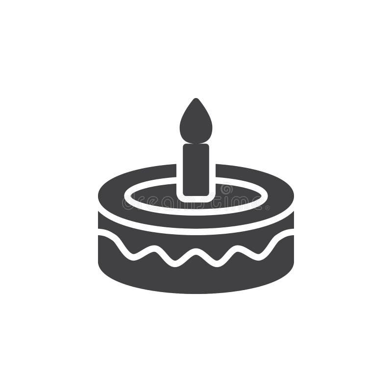 Utsmyckad vektor för symbol för födelsedagkaka, fyllt plant tecken, fast pictogram som isoleras på vit vektor illustrationer