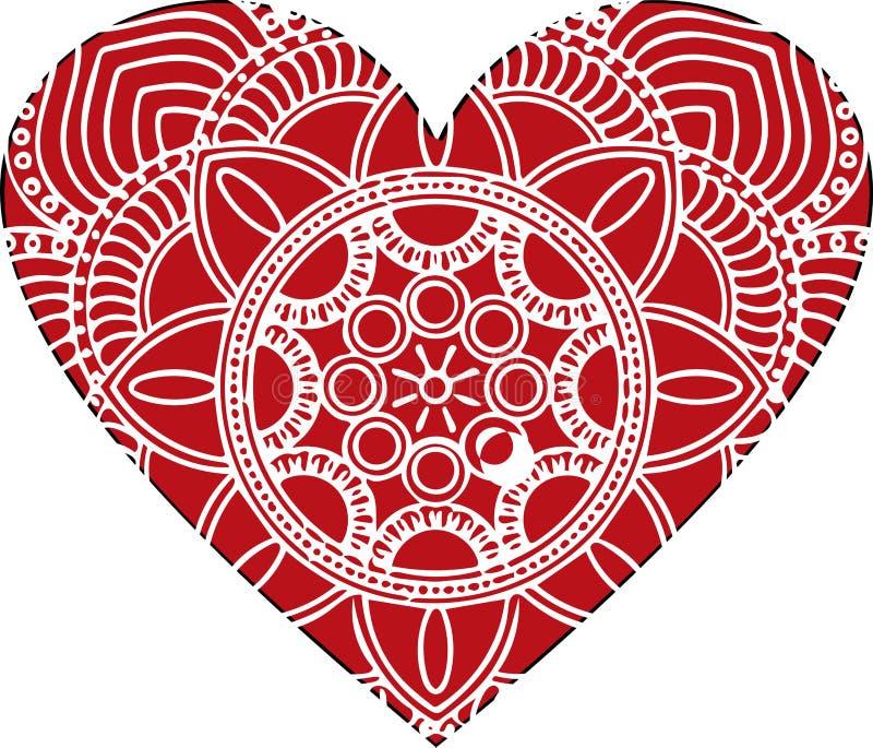 Utsmyckad vektorhjärta i viktoriansk stil Elegant beståndsdel för logodesign Snöra åt den blom- illustrationen för att gifta sig stock illustrationer