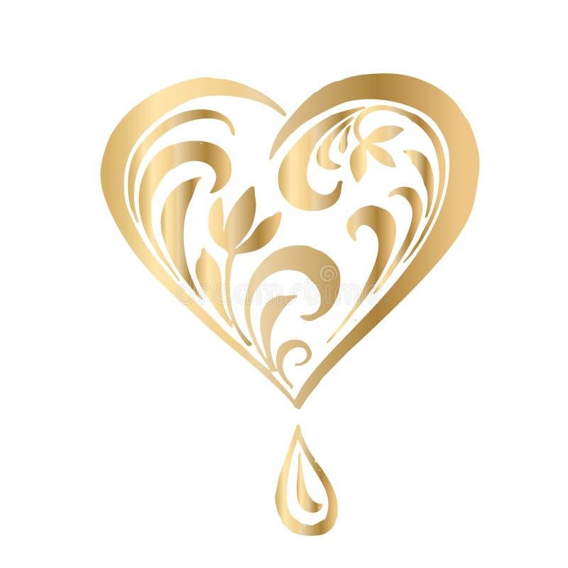 Utsmyckad vektorhjärta i viktoriansk stil Elegant beståndsdel för logodesignen, ställe för text Snöra åt den blom- illustrationen royaltyfri illustrationer