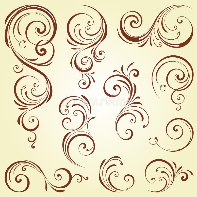 Utsmyckad virveluppsättning vektor illustrationer
