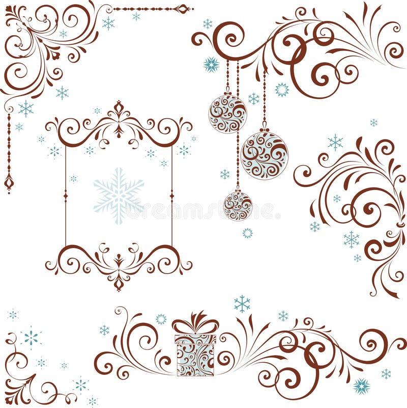 Utsmyckad virveluppsättning för jul vektor illustrationer