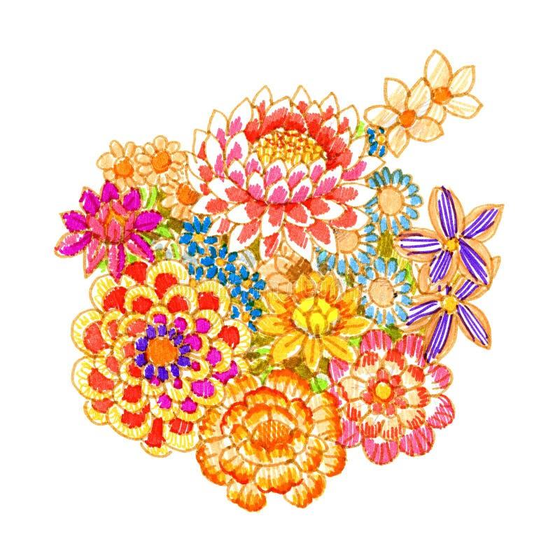 utsmyckade blommor för bukett vektor illustrationer