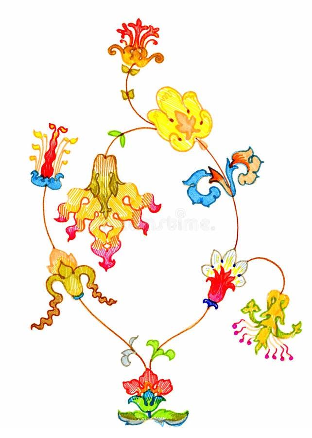utsmyckade blommor för bukett stock illustrationer