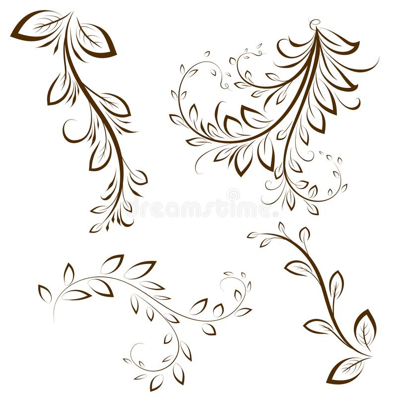 Utsmyckade calligraphic designbeståndsdelar med sidor Dekorativa vridningar vektor illustrationer
