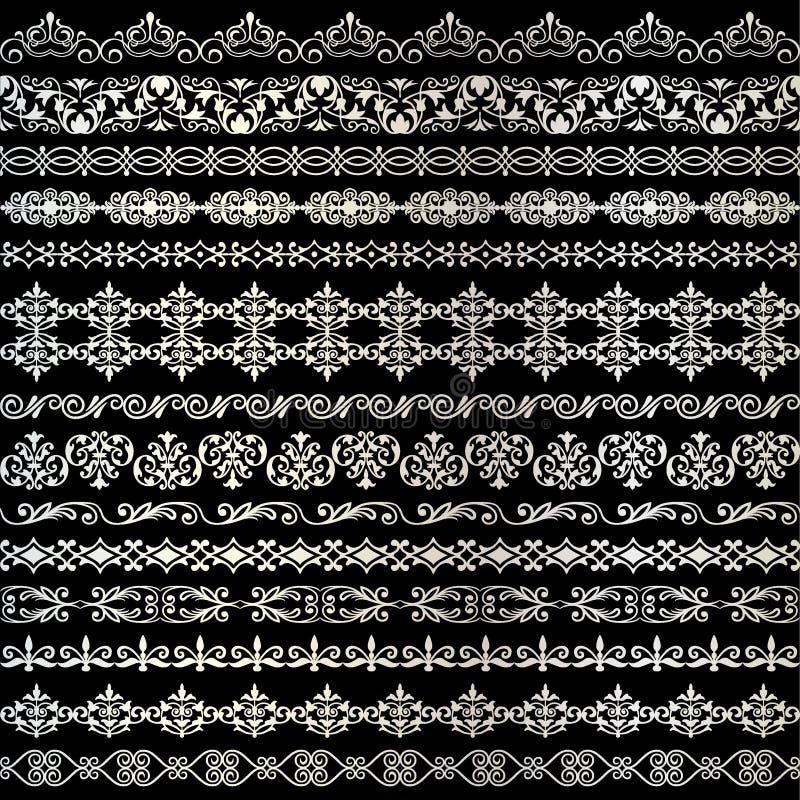 Utsmyckade gränser för metalliskt silverband royaltyfri illustrationer