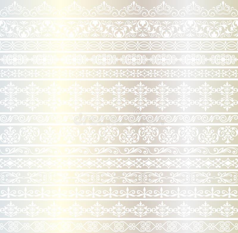 Utsmyckade gränsmodeller för silver royaltyfri illustrationer